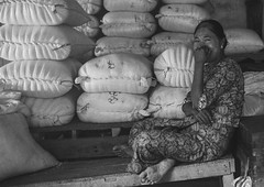 Women Sit In Front Of Bags In A Market, Ngapali, Myanmar (Eric Lafforgue) Tags: abundance asia asian blackandwhite burma business day foodanddrink forsale grainy horizontal market marketstall myanmar oneperson photography retail sale selling shopping shy sit traveldestinations trix women leicaburma281 ngapali rakhinestate