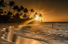 The Morning Paddle (Jeff Bentz Photography) Tags: coconut tree palm waves surfing board paddle rays sun orange sunrise hawaii kauai