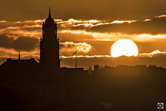 A grade 1 listed Sunset (alundisleyimages@gmail.com) Tags: hamiltonsquare birkenheadtownhall grade1listedbuildings sunset weather clouds sun architecture buildings evening winter seasons flags silhouette birkenhead wirral merseyside uk spire rooftops chimneys