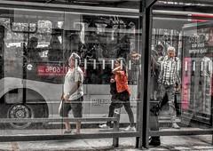 o dia só está começando (lucia yunes) Tags: rua cenaderua fotografiaderua fotoderua pontodeônibus ônibus transportepúblico mobilephoto mobilephotographie streetphoto streetshot streetphotographie lifestreet motozplay luciayunes bus busstop selectivecolor