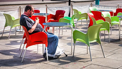 Outdoor cafe scene Southport. (James-Burke) Tags: southport tables chairs candid merseyside street outdoorcafe green cafe lordstreet red man icecream colour