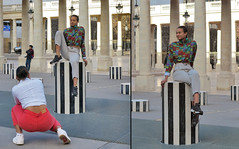 Photographing a girlfriend in relaxed pose on a Buren's colomn (pivapao's citylife flavors) Tags: louvre paris france girl architecture photographer
