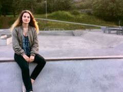 Girl Sitting at Skate Park Looking at Camera (Jonatan Svensson Glad (Josve05a)) Tags: cute child happy smiling people smile sitting caucasian happiness looking childhood kid women girls person human pretty brunette cheerful fun joy outdoors youth play teen teenager playful playing outdoor children activity alone kids playground oneperson younggirl 14years