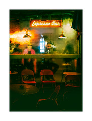 Clocked (Dave Fieldhouse Photography) Tags: streetphotography street night nighttime bar lights hopper man customer chairs neon espresso window lamps reflections london steam condensation fuji fujifilm fujinon35mmf2 fujixpro2 wwwdavefieldhousephotographycom portrait