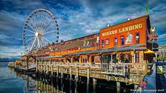 Seattle, WA: Pier 57 Miner's Landing (nabobswims) Tags: elliottbay ferriswheel greatwheel hdr highdynamicrange ilce6000 lightroom minerslanding mirrorless nabob nabobswims photomatix pier57 sel18105g seattle sonya6000 us unitedstates wa washington waterfront wharf
