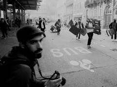 Violent Riots in France 2018 Yellow Vests (laurentbourrelly) Tags: street streetphoto streetphotography blackandwhite monochrom riot rally strike crowd people violence yellowvests yellowjackets giletsjaunes photojournalism reportage journalist photoreporter toulouse france