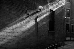 Illuminated Lamp_DSF2103 (Punk Dolphin) Tags: newyorkcity newyork manhattan blackandwhite bw blackandwhitephotography shadows light street bricks windows lamp sign signage securitycamera sidewalk fujix100f fujifilmx100f