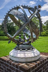 The Future of the World (dayman1776) Tags: south carolina sony a6000 myrtle beach brookgreen gardens paul manship artist sculpture sculptor sculptures escultura statue bronze myth mythology mythological astrology circle life mother father son sphere seasons zodiac season