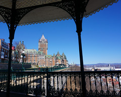 Stone and lace (Francoise100) Tags: pierresetdentelle imposing imposant promenade tower roof castle monument travel kanada canada river stlaurent saintlaurent quebec chateau frontenac pavillion sunny clear fer forge wrought iron qc