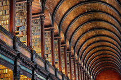 Book Cases and Barrel Vaulted Ceiling (lfeng1014) Tags: thelongroom bookofkells trinitycollege oldlibrary dublin ireland library bookcases books darkoakbarrelceiling ceiling canon5dmarkiii ef70200mmf28lisiiusm landmark travel light lifeng building structure architecture arches curves