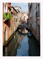 Canal Reflection (Waldemar*) Tags: europe italy veneto venice venezia canal water reflection reflecting boats bridge architecture