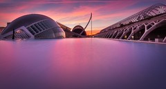 Valencia (Anto Camacho) Tags: valenciancommunity valencia sunshine calatrava architecture clouds colours cac longexposure largaexposición pink pinkclouds