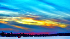 'Crayola' Dusk over the Frozen Lake (Bob's Digital Eye 2) Tags: 2017 bobsdigitaleye canon canonefs55250mmf456isstm clouds flicker flickr frozenlake icefishing icefishinghouses lakeinwinter lakesunsets polarvortex sky sunset sunsetsoverwater t3i winter winterinmn laquintaessenza bobsdigitaleye2
