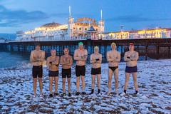 Brighton Swimming Club In The Snow February 1st 2019 7:02AM (lomokev) Tags: file:name=1902015dmrk3a2721 brighton swim swimming swimmers sport canoneos5d canon eos 5d pier brightonpier palacepier snow portrait group brightonswimmingclub