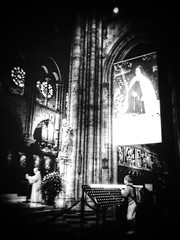 Retraite impromptue (LUMEN SCRIPT) Tags: mystic interiorphotography indoorphotography artisticperspective cathedral notredamedeparis vignetting blur blackandwhite monochrome atmosphere mood france paris church unsharp softfocus