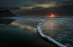 Foam To Forever [Explored} (matt_co) Tags: oregon coast wave sunset seascape beach foam reflection heceta olympus micro43 clouds water pacific ocean