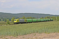ATLU/HLG 119 009 am 23.05.2018 mit einem Holzzug in Haunetal-Neukirchen (Eisenbahner101) Tags: