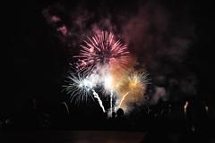 Airshow Fireworks (eacmich) Tags: fireworks celebration display bright show abbotsford airshow twilight dark night canon 6d 24105mm canada finale black blackbackground people watching pink white orange nighttime nightshot nightshow longexposure