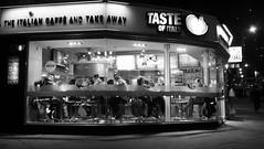 Diner After Dark (byronv2) Tags: blenheimplace corner leithwalk edinburgh edinburghbynight edimbourg scotland night nuit nacht diner restaurant italianrestaurant cafe eating food street peoplewatching candid blackandwhite blackwhite bw monochrome