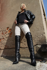 Tabea 44 (The Booted Cat) Tags: sexy blonde hair model girl leather jacket boots overkneeboots heels highheels