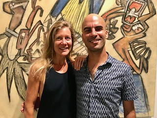 Curator Kathryn Mikesell with artist Gili Avissar at the LnS Gallery opening