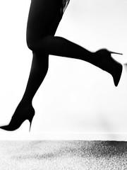 Run for rum (katrina.krievane) Tags: legs highheels heel high slim up jump levitation black white blackandwhite abstract run sexy