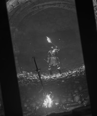 """Firelight... There's hope"" (L1netty) Tags: darksouls3 darksouls ds fromsoftware bandainamcoentertainment bandainamco pc game games gaming pcgaming videogame videogames reshade screenshot 4k character ashenone man male people knight warrior armor catacombsofcarthus bonfire fire light dark catacombs bones blackandwhite monochrome bw indoor fantasy"