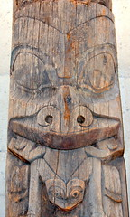 TOTEM,  VERY OLD WOOD CARVING,   WESTCOAST NATIVE ART.   VANCOUVER AIRPORT. BC. (vermillion$baby) Tags: nativeart art carvng color firstnations red totem westcoast wood artsculpture native pacificnorthwest artofnorthamerica artofnativenorthamerica museum carving sculpture woodcarving museums artofthenative nativeamerican indian gallery aborigine