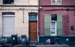 Streets of Lille (_Franck Michel_) Tags: house worker laborer door shutter green red trash can bin garbage