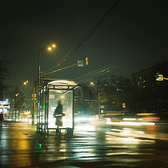 Life in waiting (belousov.ph) Tags: portra400 mediumformat analog film portra kodak 120 zenzanon bronica light russia minimal atmospheric sky square auto road car classic neon girl beautiful model headlights longexposure urban blur