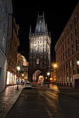 The Powder Tower At Night (campmusa) Tags: castle prague czechrepublic czechia tower stonetower powdertower oldtown citygate nightshots nightlights