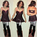 20180408 1239 - fashion show - Clio - lingerie, silver leggings - 10a-26b-55c (triptych)