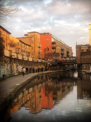 Reflections past a den of pirates (marc.barrot) Tags: sunset reflections canal urbanlandscape uk nw1 london camden piratecastle regent'scanal shotoniphone
