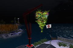 Christmas Tree at Sea (motobazzi) Tags: store christmas tree water sea motobazzi crane roof flag sailboat coastalwaterway blakesea secondlife sl virtual region sim lighthouse night stars