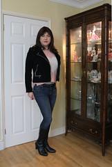 Default casual (Joanne (Hay Llamas!)) Tags: transgender shemale genderfluid genderqueer tg brunette tgirl gurl cute uk brit british britgirl casual jeans jacket biker