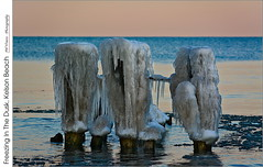 Freezing In The Dusk, Kelson Beach (jwvraets) Tags: dusk sunset kelsonbeach fiftypoint water lakeontario groyne pilings ice frozen icicles winter pastels pinks blues grimsby winona hamilton opensource rawtherapee gimpnikon d7100 afpdxnikkor70300mm14563nonvr