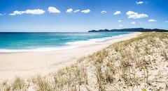 Te Horo Beach (loveexploring) Tags: newzealand northisland northland pacificocean piwhanespiritsbay southpacific spinifexsericeus sprititsbay tehorobeach bay beach bluesea coast coastline landscape ocean panorama sanddune sea seascape skycloud water