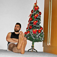 Spartacus (263) (@the.damned.spartacus) Tags: male big muscle bulge hunk hairy legs feet foot fetish toe chest gym christmas tree decoration bowtie bigfeet