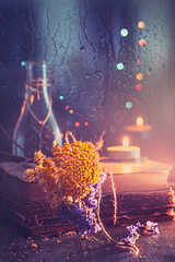 Candlelight (Ro Cafe) Tags: ddproject52 colorful dark nikkor105mmf28 sonya7iii stilllife books bottle candle candlelight darkmood driedflowers week2 rain reflections bokeh
