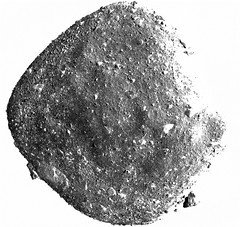 Bennu with Big Boulders, variant (sjrankin) Tags: 29january2019 edited nasa bennu osirisrex grayscale asteroid rubble rocks primage boulders crater