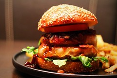 Burger to die for!!!  Jack Daniel's sauce, bacon, caramelized red onions! (corineouellet) Tags: details focus yumyum delish delicious tasty yummy canonphoto canon plating cook cooking foodie foodies food hamburger burger