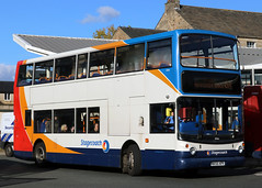 18366 MX55 KPV 6A 10-2018 (Cumberland Patriot) Tags: stagecoach north west england cumbria cumberland motor services cms morecambe white lund depot trident adl alexander dennis ltd alx 400 alx400 18366 mx55kpv low floor double decker bus derv diesel engine road vehicle lancaster route service 6 6a six