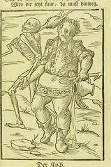 This image is taken from Der Todten-tantz, wie derselbe in der weitberühmten Stadt Basel, als ein Spiegel neuschlicher Beschaffenheit ganz künstlich mit lebendigen Farben gemahlet, nicht ohne nüssliche Vermunderung zu sehen ist (Medical Heritage Library, Inc.) Tags: dance death rcplondon ukmhl medicalheritagelibrary europeanlibraries date1796 idb24990103