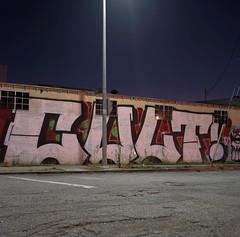 Cult on Jesse St. (ADMurr) Tags: la eastside cult grafitti lamp pole night pavement square 6x6 hasselblad 500 cm dad948 fuji 400