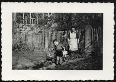 Archiv R761 Ostern, Burgdorf, 17. April 1949 (Hans-Michael Tappen) Tags: archivhansmichaeltappen garten jungen frau ostern osterkörbchen korb schürze hosenträger fotorahmen holzzaun osterei eiersuche brillenträger