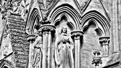 Watching (Daniel Karmy) Tags: cathedral church spire salisbury saint saints apostles gargoyles religious religion post processing black white shot photo karmy