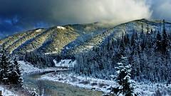 montana - SR-2 - Flathead river winter landscape - 2018-12-05 (Ric on the road) Tags: montana sr2 glacier national park road mountain river flathead sonw landscape trees sky