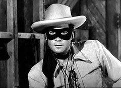 """Clayton Moore as the Lone Ranger in """"The Lone Ranger Fights On,"""" the second episode of the TV series. It originally aired 9/22/1949. (stalnakerjack) Tags: hollywood actors claytonmoore tvseries westerns television tv loneranger"""