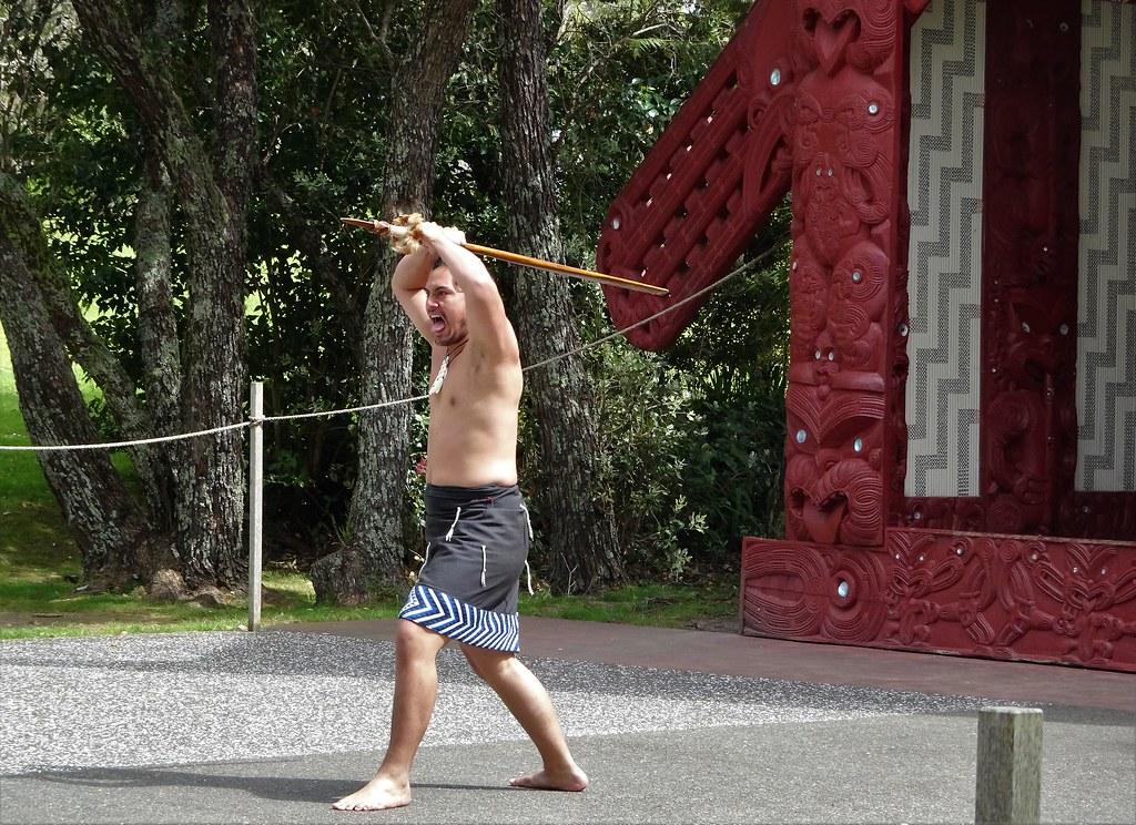 Waitangi Treaty House Marae. Maori man giving a traditional welcome.