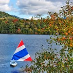 Lake Placid  - New York - Sail Boat  - Red Blue and White thumbnail